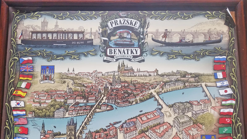 a tourist graphic of the river, lesser town and castle to show you the limits of the little venice boat tours