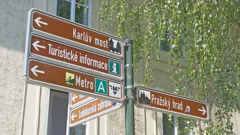 prague tourism sign posts in the lesser town