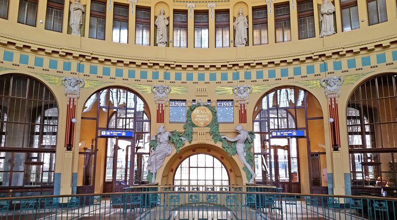 art nouveau original entry and ticket office area of prague main train station