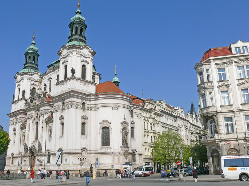 Prague ST Nicholas Church Old Town viewed in 2010 when it was painted white