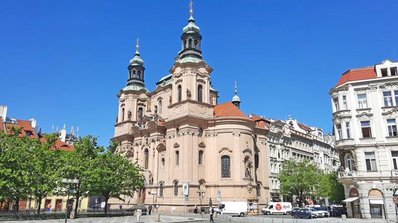 Prague ST Nicholas Church Old Town viewed after the last renovation when the colour was returned to it's original camel colour