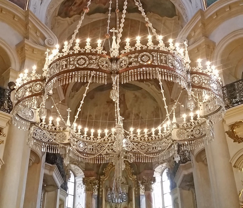 The Russian Orthodox Chandelier at Prague ST Nicholas Church Old Town