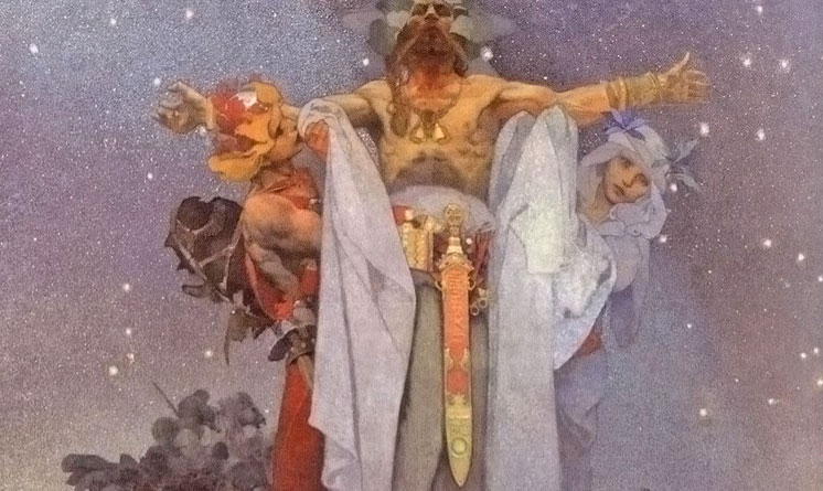 detail of the slav epic painting slavs in their homeland by alfons mucha