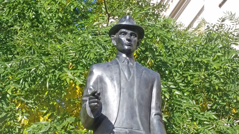detail of Jaroslav rona bronze sculpture of franz kafka