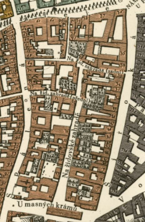 prague map from 1816 showing the old names of the streets in the area of the prague jewish garden