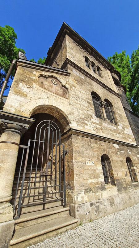 A view of the Prague Jewish Ceremonial Hall entry gate and chevra kadisha sign