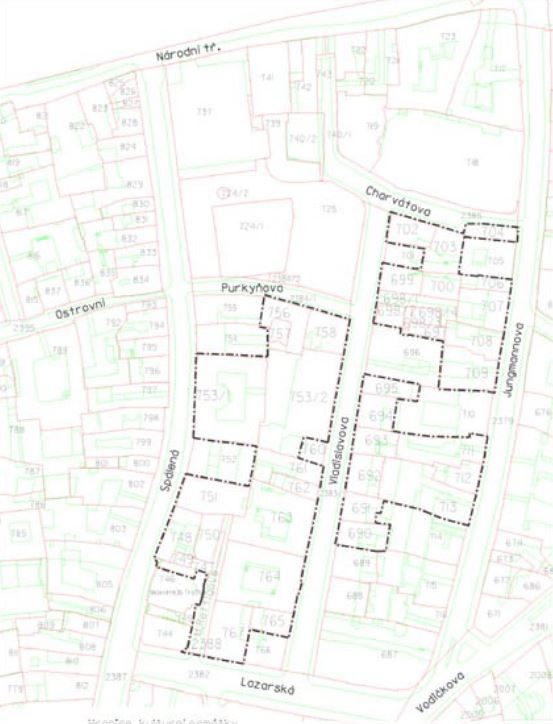 map showing building plots in the prague jewish garden protected area