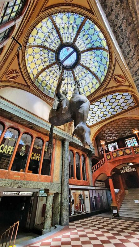 david cerny prague upside down horse in the lucerna passage