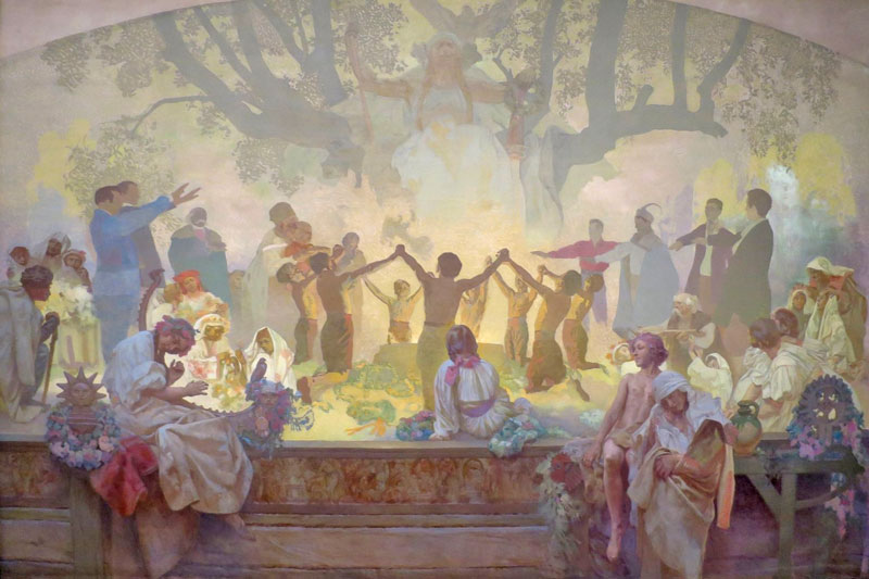 Slav Epic by Alfons Mucha, the Oath of the Omladina Under the Linden tree