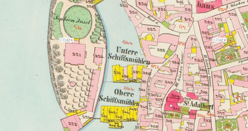 1842 map of prague showing slavonic island when it was called sophies island