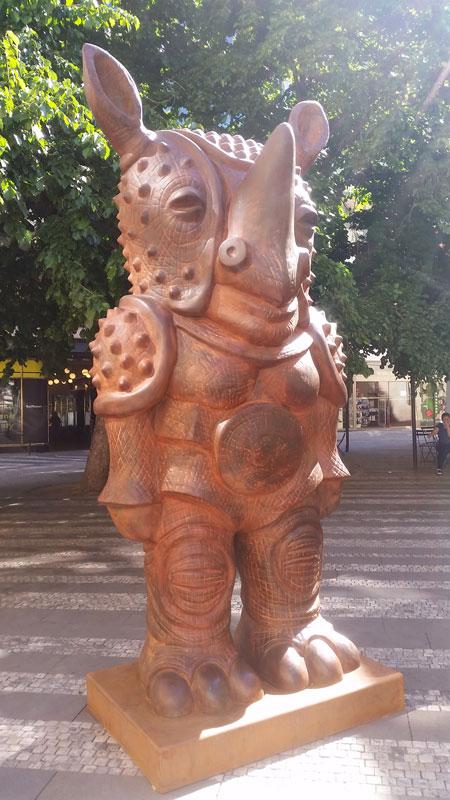 jaroslav rona bronze sculpture called rhinoceros