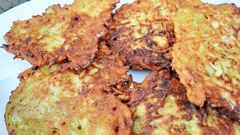 czech food bramborak cooked golden brown and drained of excess oil