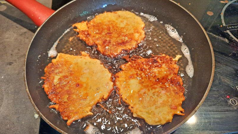 Frying Bramborak until golden brown
