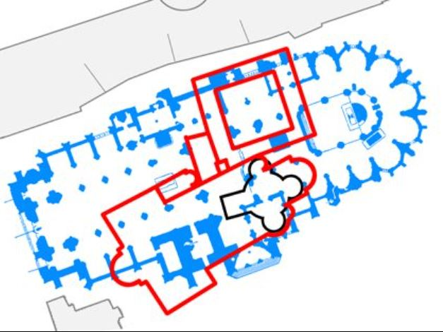 ground plan showing prague st vitus rotunda, basilica and cathedral