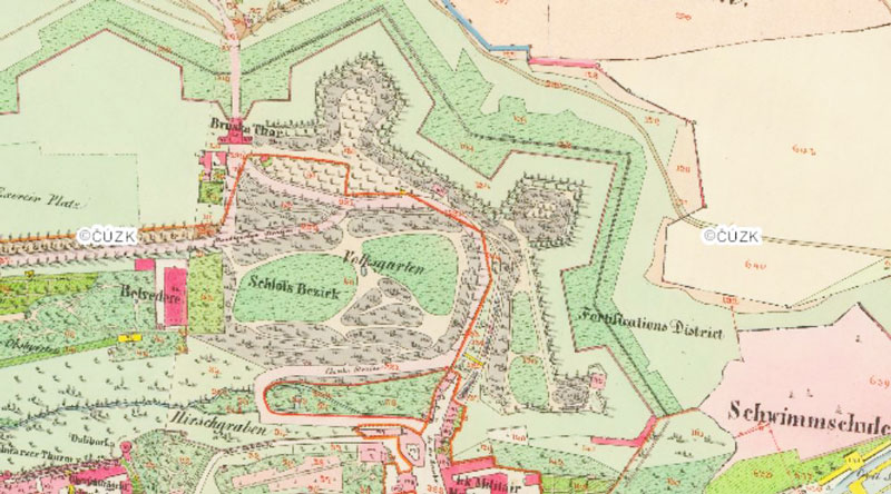 map of prague from 1842 showing the castle sand gate named as Bruska Thor and the fortified wall bastions