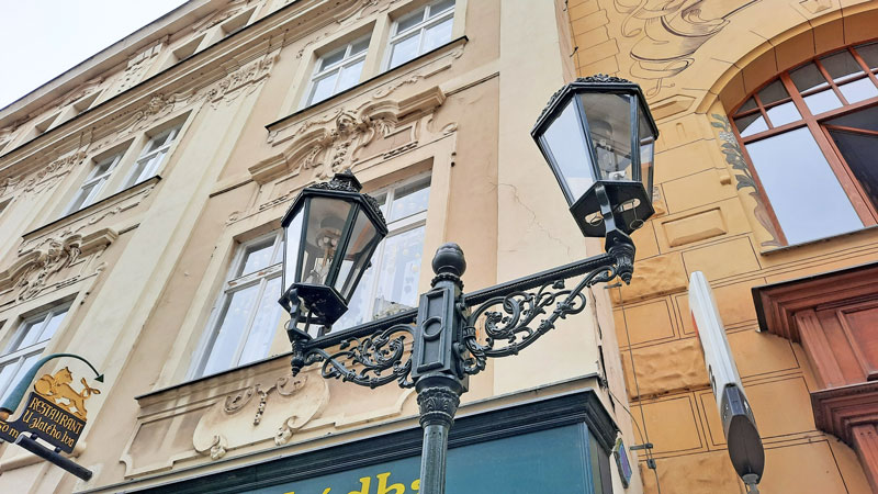 a pair of free standing prague gas lamps in the old town