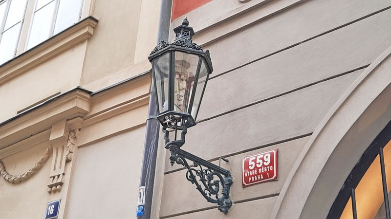 one of the single wall mounted prague gas lamps in the city