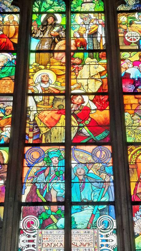 alfons mucha banka slavie leaded light window at prague st vitus cathedral