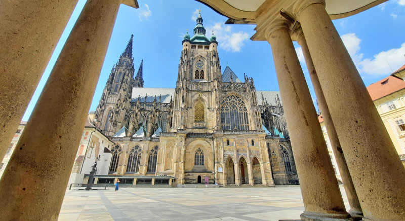 prague st vitus cathedral viewed from the presidential office in the third courtyard of prague castle