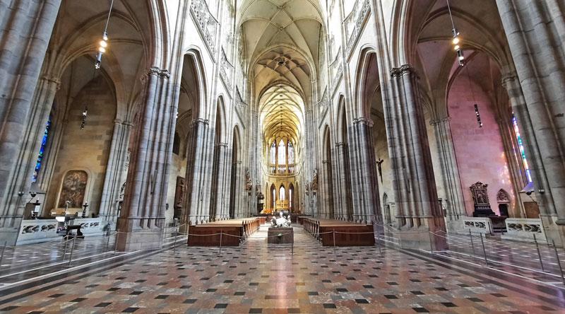 interior of Prague st vitus cathedral