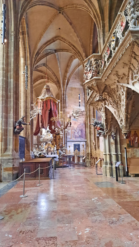 interior of the prague st vitus cathedral showing the jan nepomuk tomb and the royal oratory