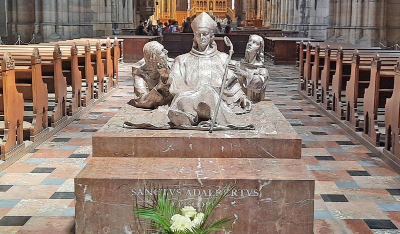 solid silver motif of st adalbert at prague st vitus cathedral