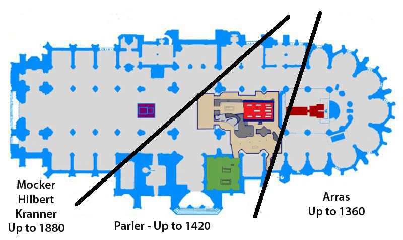 ground plan of prague st vitus cathedral showing the three building phases