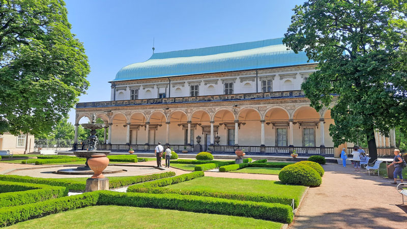 the queen annes palace or belvedere in the prague castle imperial gardens along with the giardinette and singing fountain