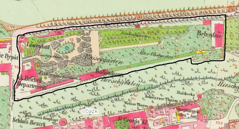 a map of the prague castle imperial gardens in 1842