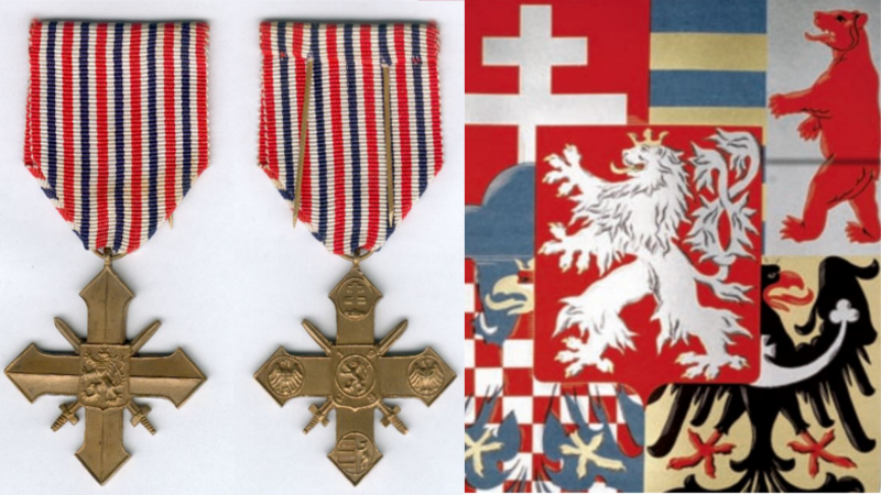 both sides of the czechoslovak military cross and associated heraldic symbols