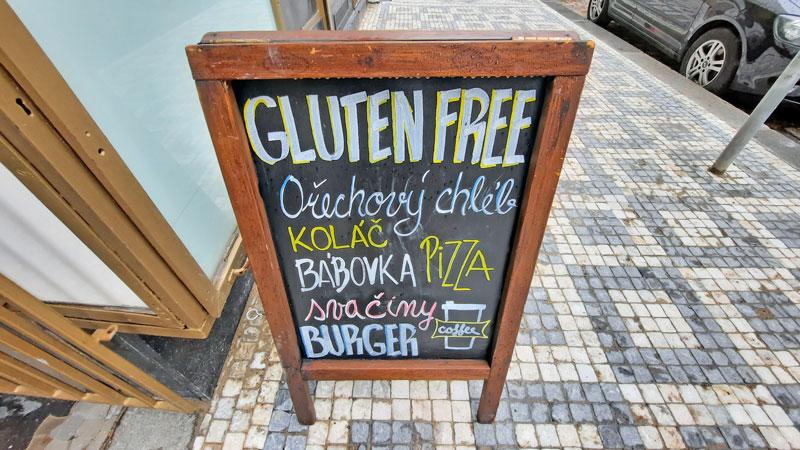 prague gluten free blackboard sign