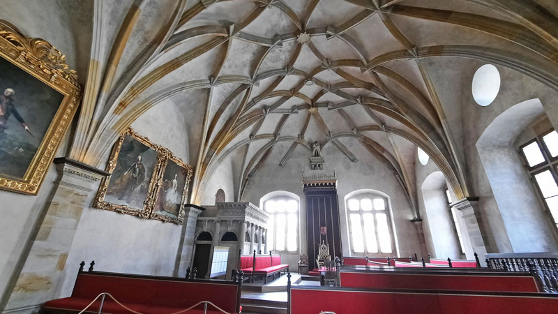 Prague Old Royal Palace Diet with Curved Vaulted Ceiling