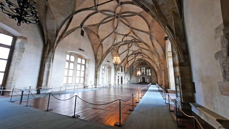 Prague Old Royal Palace Vladislav Hall viewed from the Ludwig Wing doorway