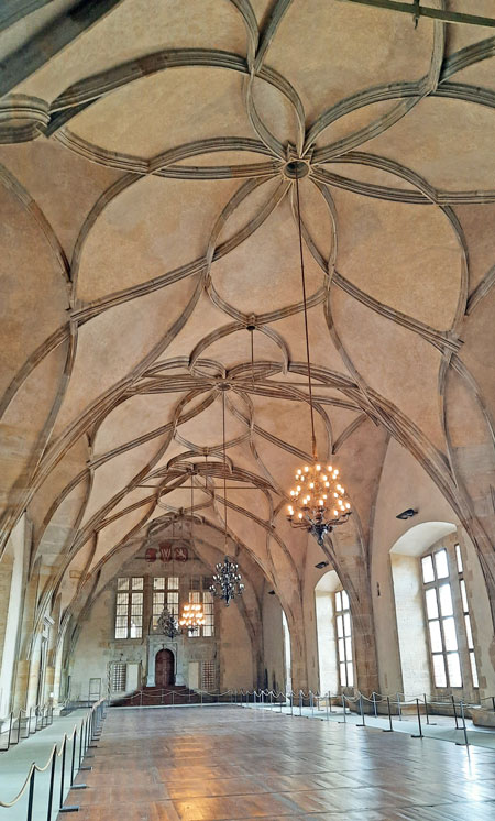 Prague Old Royal Palace Vladislav Hall showing the length of the curved vaulted ceiling