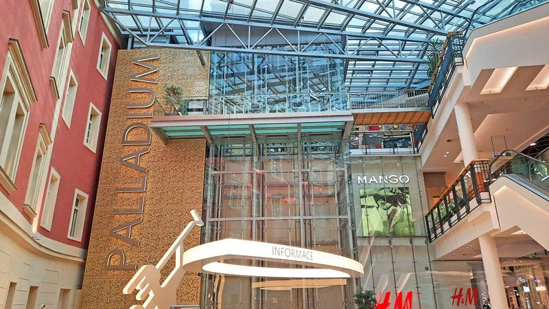 Main atrium of the Palladium Shopping Centre in Prague