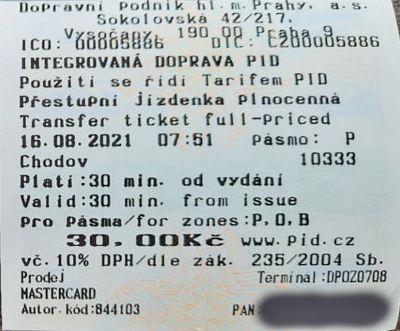 prague public transport machine ticket which is pre-validated