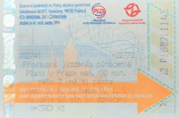 prague public transport machine ticket which requires validation