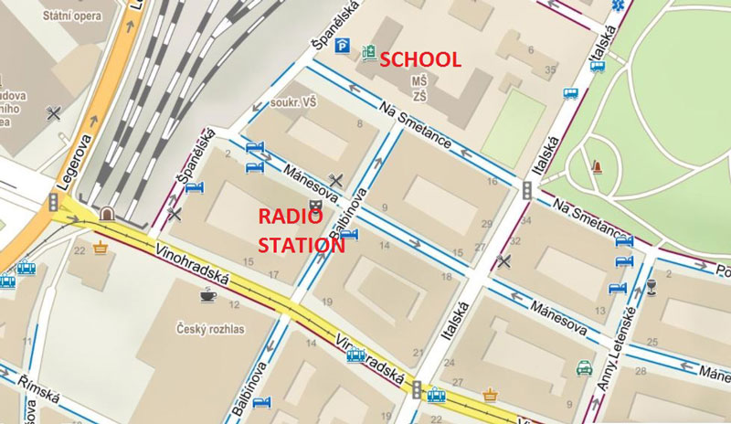 a map of prague showing the locations of the na smetance school and the cesky rozhlas radio station