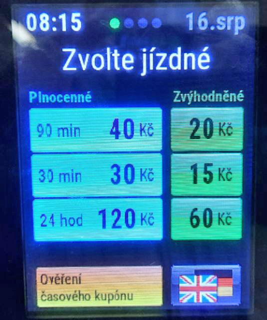 the screen on a prague public transport pre-validated ticket machine