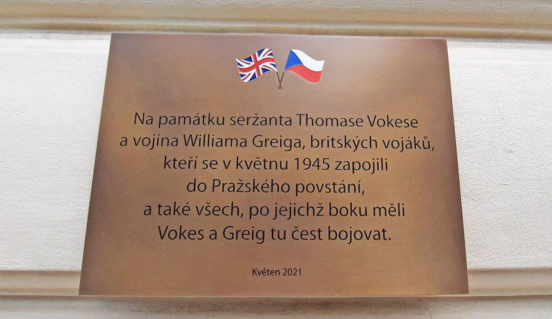 The Plaque to Thomas Vokes and William Greig on the Na Smetance School in the Prague vinohrady district