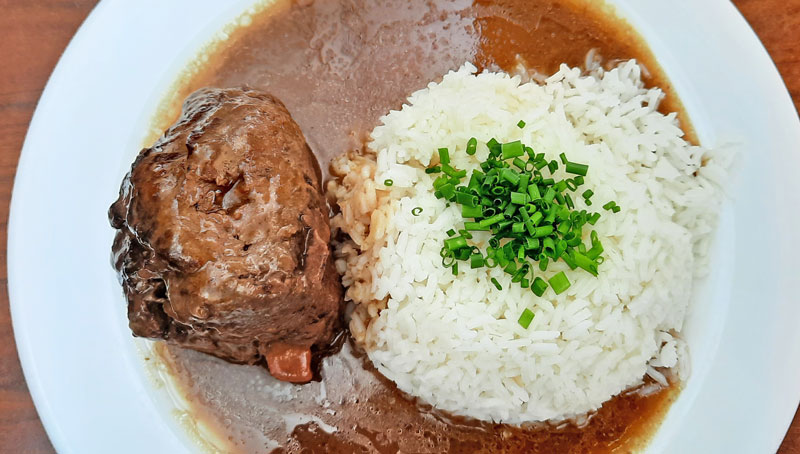 czech food beef roulade called spanish bird served with rice