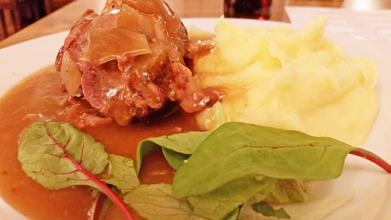 czech food beef roulade called spanish bird served with mashed potato