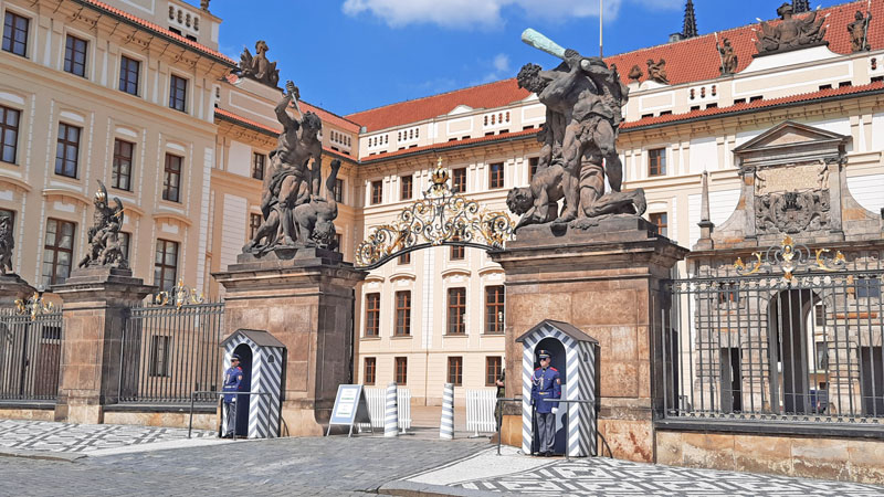 prague castle first courtyard entry gate and the matthias gate in the background