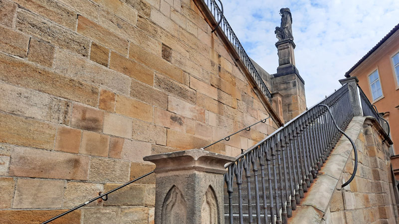 The Mission Impossible Prague filming location kampa Island steps leading up to charles bridge