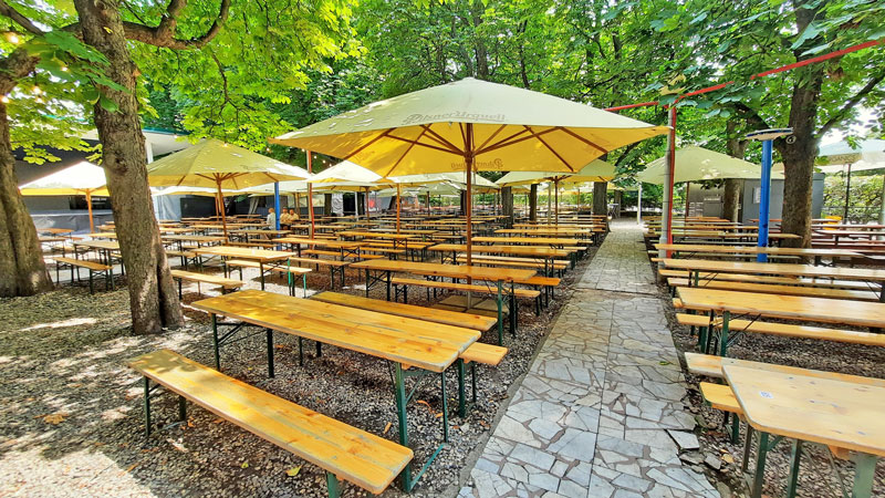 empty bench seating at the riegrovy sady beer garden during the pandemic