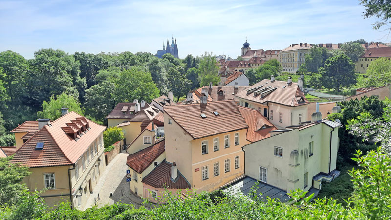 nový svět in prague pictured from on top of the battlements
