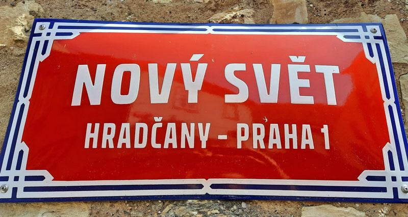 nový svět prague street sign