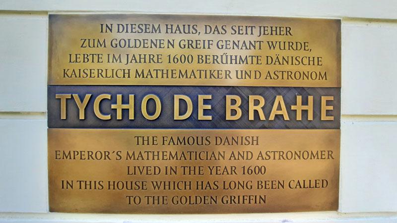 Plaque at No.1 Nový Svět where Astronomer Tycho Brahe once lived